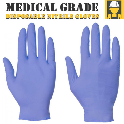 Blue Disposable Nitrile Gloves Powder Free