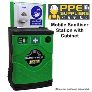 Mobile Sanitiser Station with Cabinet