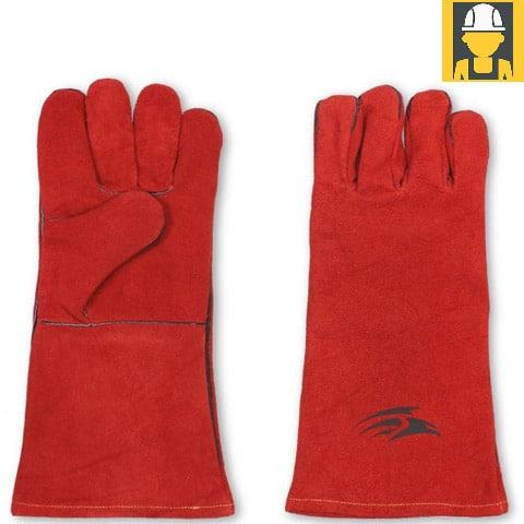 G10 Red Split Leather Cotton Welding Gauntlets