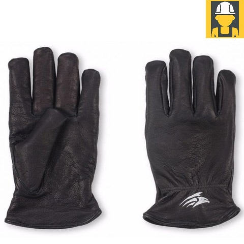 G12 Black Fleece Lined Leather Drivers Gloves