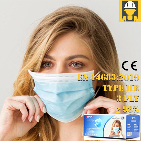 CE Type IIR 3 Ply Surgical Disposable Mask