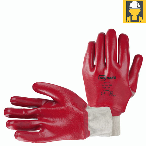 Sosafe Red Pvc Knit Wrist 3131 Gloves
