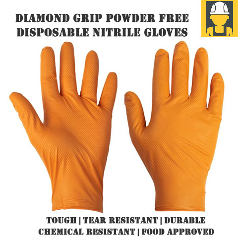 Diamond Grip Orange Disposable Nitrile Gloves