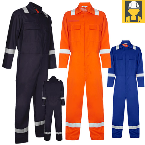 Hi Vis Fr Coverall 340Gsm 100% Cotton - Industrial Wash