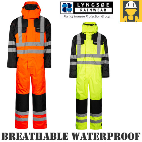 Lyngsoe Hi Vis Nylon Quilted Wind And Waterproof Coverall